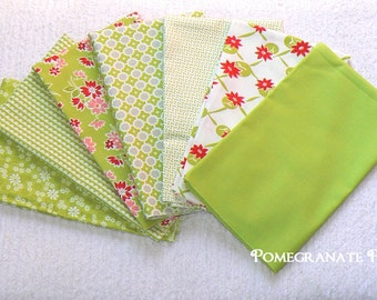 7  fat quarter bundle Bonnie and Camille... Miss Kate .. Moda fabrics...  Green, Red, Cream