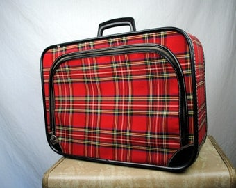 Vintage Japanese Plaid 1960s Luggage Case Suitcase