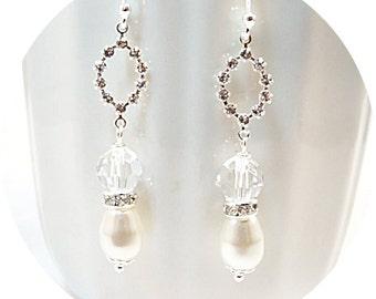 Earrings, Bridal Earrings, Pearls and Rhinestones, Dangle Earrings, Bridal Accessories, Wedding Jewelry, Bridal Jewelry, Sparkly Earrings
