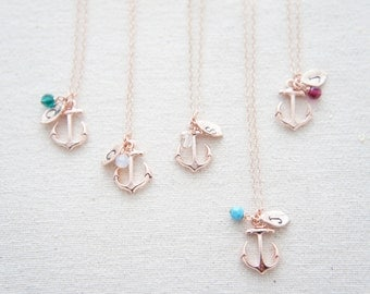 Personalized rose gold anchor necklace with birthstone, tiny leaf, casual, gift, bridesmaid gift, birthday, layered necklace, trendy
