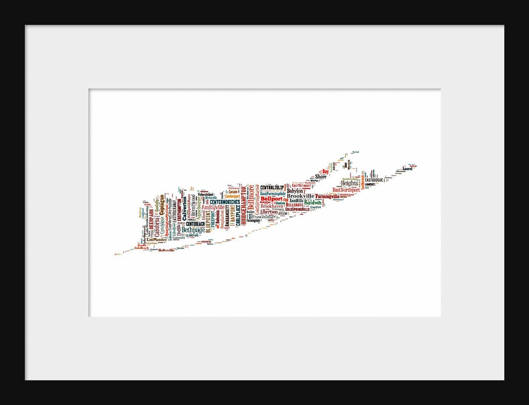 Long Island New York Map Typography Map Tyographical Color Map