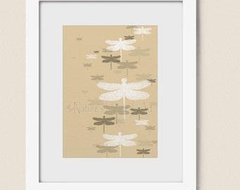 Neutral Colors Dragonfly Artwork for House Decor, Tan Earth Tones, Bathroom or Bedroom Wall Art Print (152)