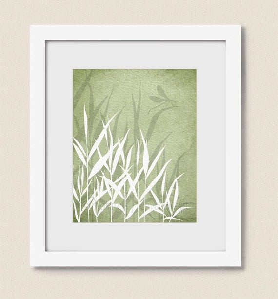 Dragonfly wall decor 8 x 10 wall art print sage green grass for Dragonfly wall art