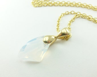 Opal Gold Necklace Yellow Gold Opal Crystal Necklace October Birthstone Necklace