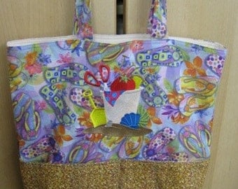 Beach Scene Sand Castle Supplies Eco Friendly, Purse, Bag Embroidered on BOTH sides