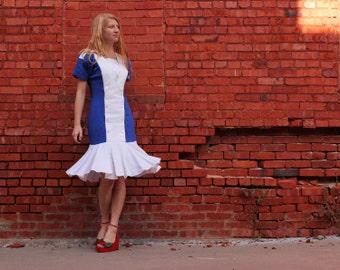 SALE Vintage 80s does 40s Color Block Sheath Dress with Mermaid Flounce Ruffle & Epaulettes . White Cobalt Blue Cotton and Linen 4 / 6