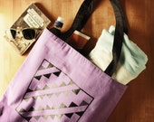 Screen Printed Triangle Design Tote Bag - Purple