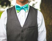 The Beau- men's aqua/lime/navy plaid freestyle self-tie bow tie