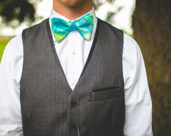 The Beau- men's aqua/lime/navy plaid freestyle self-tie bow tie