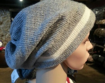 Alpaca Slouch Cap - Beautiful in Light/Medium Silver Grey