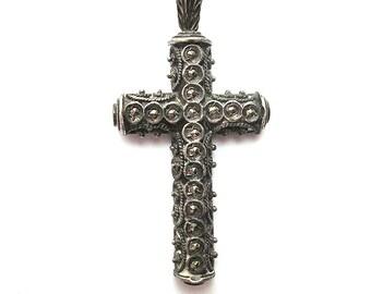 Vintage Marcasite Cross, 900 Coin Silver Cross Pendant