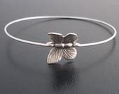 Silver Butterfly Bracelet, Butterfly Jewelry, Butterfly Charm Bracelet, Bridesmaid Gift, Butterfly Wedding, Silver Butterfly Bangle Bracelet