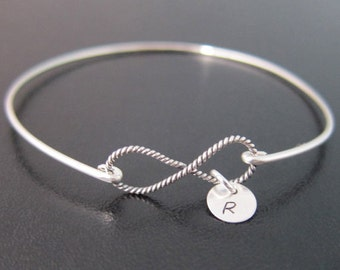 Sterling Silver Bracelet, Personalized Sterling Silver Infinity Bracelet, Sterling Bracelet, Sterling Bangle Bracelet, Infinity Bangle