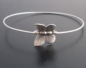 Silver Butterfly Bracelet, Butterfly Jewelry, Butterfly Charm Bracelet, Bridesmaid Gift, Butterfly Wedding, Silver Butterfly Bangle Bracelet