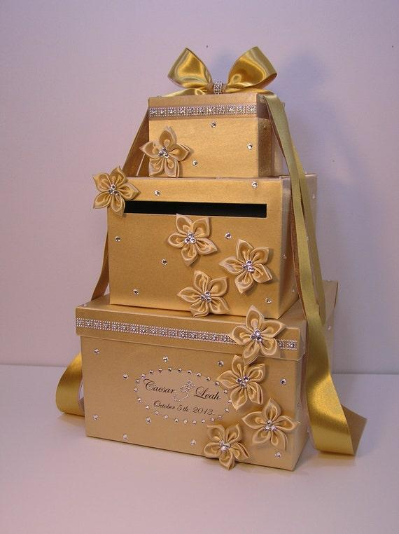 Wedding Gift Card Box Gold : Wedding Card Box Gold Gift Card Box Money Box Holder-Customize your ...