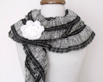 Black And Light Grey Scarf wiht Flower Brooch Women Scarf-Ready For Shipping