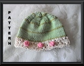 Knitted Hat Pattern Baby Hat Pattern Newborn Hat Pattern Infant Hat Pattern Stripes and Lace Hat Pattern STRIPES AND BOBBLES