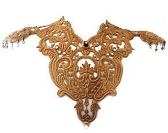 Gold lace ultraglamorous and oversized necklace.