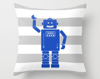 Robot 2 Blue Gray and White Stripes Throw Pillow Cover Case 16X16 or 18x18 Or 20x20 Hidden Zipper