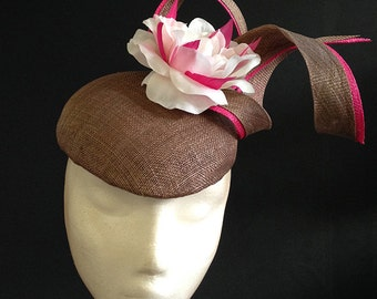 Brown & Hot Pink Flower Beret - Great hat perfect for a wedding or the races, can be made in other colours