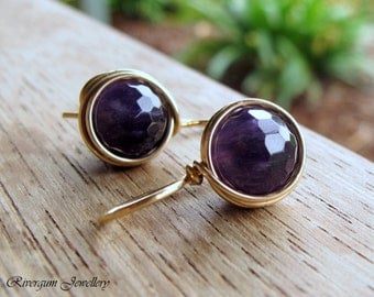 Amethyst Earrings, Wire Wrapped, 14kt Gold Filled, February Birthstone, Aquarius, RiverGum Jewellery