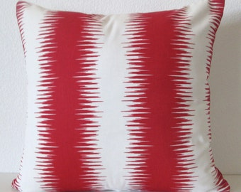 Pillow Cover - Red - Ikat - Stripes - 16x16 - Decorative - Throw - Cushion Cover