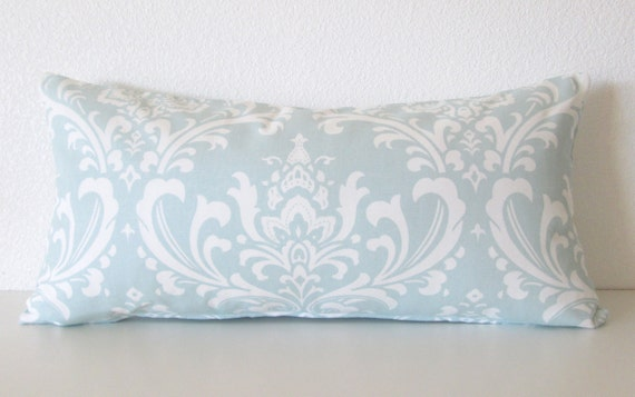 Powder Blue Decorative Pillows : Pillow Cover Ozborne Powder Blue damask print Cushion