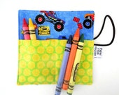 Mini Crayon Roll - Monster Truck - boys party favor preschool graduation gift toddler gift crayon holder kids coloring