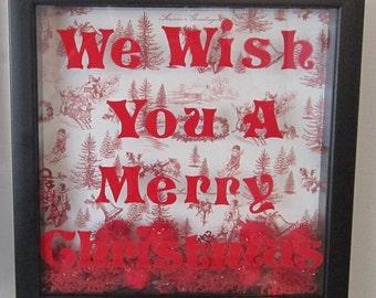 We Wish You A Merry Christmas Black Shadowbox Decoration