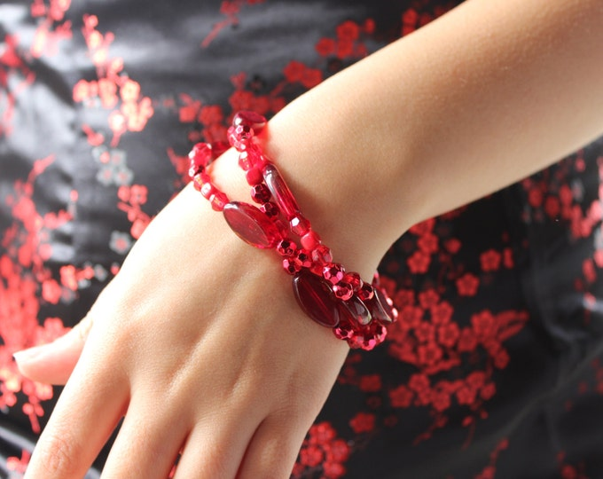 Red Braided Three Strand Bracelet.