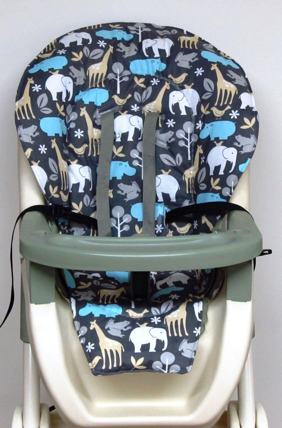 graco high chair cover pad replacement zoology on gray. Black Bedroom Furniture Sets. Home Design Ideas