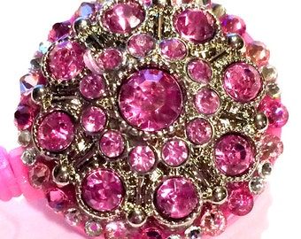 Pink Swarovski Crystal and Rhinestone Button Hot Pink Embellished Retractable ID Badge Reel
