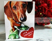 Monster Feet Cootie Protector Dachshund Valentines Day Card