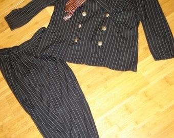 Costume girl gangster 20's 30's navy pinstripe suit hat tie women's sz 16 W  Halloween