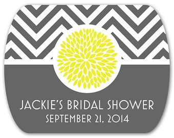 "Custom Bridal Shower Stickers - Chevrons - Mum - Modern Stickers - Mint Tin Labels - 2"" x 1.6"""