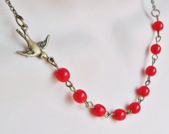 Sparrow Necklace. Red Beaded Necklace. Assymetrical Necklace. Bridesmaid Necklace. Bridal Jewelry.
