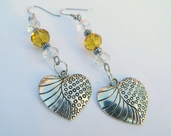 Yellow and Clear Crystal Beaded Silver Heart Charm Fashion Dangle Earrings