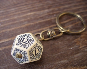 steampunk key chain D12 dice keychain dungeons and dragons dice accessories steam punk rpg geek geekery key chain