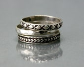 Sterling Silver Stacking Ring - Simple Silver Band - Diamond Pattern - Siver Plain Ring Band - SImple Sterling Band