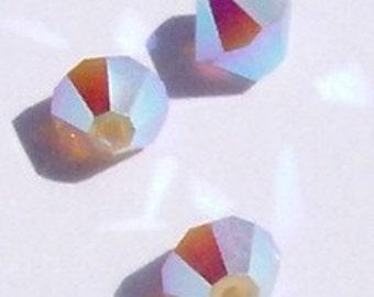 Clearance - 6mm Swarovski Crystal Beads BICONE crystal beads Light Grey Opal AB2X -- 12 pieces