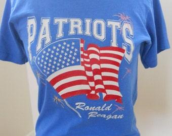 1980s Patriots Ronald Reagan T Shirt Size S