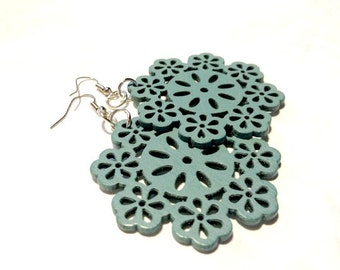 Earrings - Turquoise Blue Carved Wooden Drops