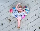 Ballerina brooch, Brooch, romantic brooch, floral brooch, Mixed Media Pin, Ballet brooch, collage art, ballerina jewel,