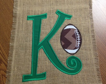 """Embroidered Initial Burlap Football Flag 11"""" X 14"""""""