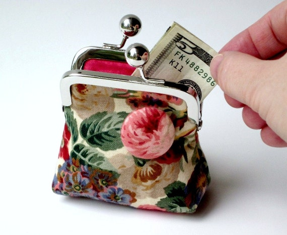 25% OFF...cottage garden floral coin purse...unique 3D button effect...coordinating raspberry colored lining...boho shabby chic cabbage rose
