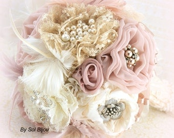 Brooch Bouquet, Ivory, Champagne, Blush, Dusty Rose, Rose, Vintage Style, Elegant Wedding, Feather Bouquet, Jeweled, Crystals, Lace, Pearls