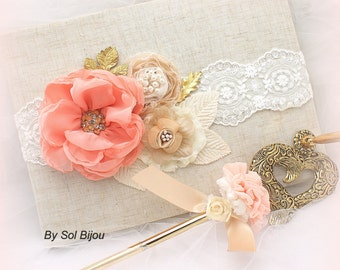 Guest Book, Coral, Tan, Gold, Beige, Ivory, Elegant Wedding, Signature Book, Signing Pen, Linen, Pearls, Lace, Crystals, Vintage Style