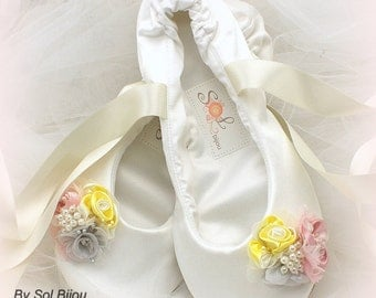 Ivory Flats, Ballet Flats, Yellow, Pink, Silver, Shoes, Wedding, Bridal, Flower Girl, Pearls, Elegant, Ballerina Slippers, Vintage Style