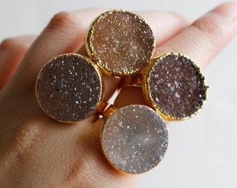 Caramel Brown Druzy Ring - Geode Rings - Choose Your Stone, Sweet like Sugar, Gifts for Her