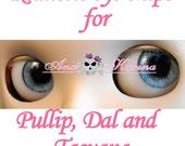 Pullip eye chips  OOAK REALISTIC custom Pullip, Dal, Taeyang eye chips set D7, by Ana Karina. UV laminated